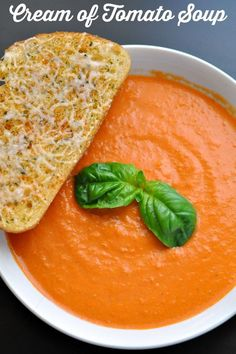 Cream of Tomato soup paired with garlic parmesan garlic toast can bring back childhood memories for me. It's so easy and delicious to make it from scratch!