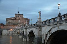 Pons Aelius (Bridge of Hadrian) leading to the mausoleum of Hadrian, Rome