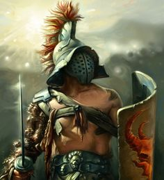 Gladiator warrior in the Coliseum Gladiator Tattoo, Spartan Warrior, Viking Warrior, Gott Tattoos, Roman Gladiators, Ancient Armor, Roman Warriors, Armadura Medieval, Roman Empire