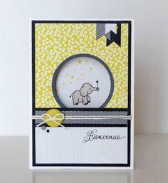 Bonsoir, Comme je l'ai écrit sur la carte que je vais vous montrer ce soir, il y a une naissance en 2017 qui m'aura un peu plus émue que... Animal Cards, Close To My Heart, Copic, Elephant, Creations, Card Making, Frame, Diy Baby, Album
