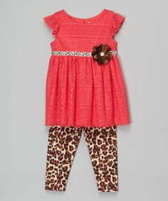 Love this Youngland Coral Rosette Tunic & Leopard Leggings - Infant, Toddler & Girls by Youngland on #zulily! #zulilyfinds