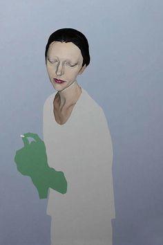 Portrait by Francesco Merletti (b.1966, live in Milano), 2010, Madreducata una sola tic tac,  oil and enamel on canvas. iL