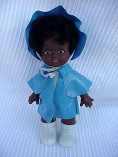 Baby Doll with Blue Rain Coat and Boots Toys & by DixieAntiques