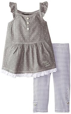 7f317a8ebe4 Calvin Klein Little Girls  Printed-Chambray Tunic with Striped Legging Set