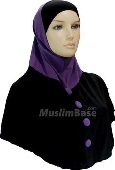 Two Piece Hijab - Buttoned Look - Black and Purple http://www.muslimbase.com/clothing/hijabs/two-piece-hijab/piece-hijab-buttoned-look-black-purple-p-8754.html
