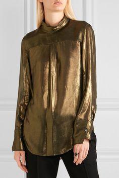 Ann Demeulemeester   Lamé turtleneck blouse   NET-A-PORTER.COM