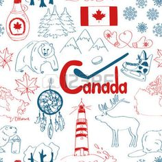 Fun colorful sketch Canada seamless pattern photo
