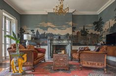 Historic Renovation on College Hill traditional-living-room saves historic wallpaper Ann Clark Architect House Furniture Design, Wood Interior Design, Living Furniture, Interior Decorating, House Design, Wooden Furniture, Scenic Wallpaper, Inca, Oriental Design
