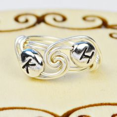 Any Two Letter Beads Sterling Silver Wire Wrapped Ring- Custom made to size 4 -14 ** Review more details here : Handmade Gifts