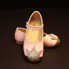 2016 Spring Children Shoes Girls Crown Princess Shoes Kids Sandals Rhinestone Sequined Girls Student Pink Dance Shoes PU leather alishoppbrasil