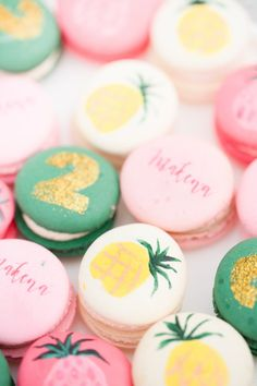 Painted macarons: http://www.stylemepretty.com/living/2015/07/29/flamingo-inspired-birthday-party/   Photography: Amy & Jordan - http://amyandjordan.com/