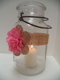10 Pink Burlap Rustic Mason Jar Candle Centerpiece Wedding Party Decorations J16 #BurlapBrides