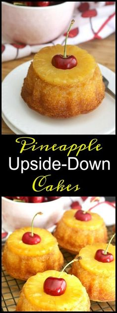 Pineapple upside-down cake is simply a basic yellow cake which is inverted after baking to reveal a glistening sheen of caramelized butter and brown sugar coating golden pineapple and maraschino cherries. http://kitchendreaming.com/pineapple-upside-cakes/