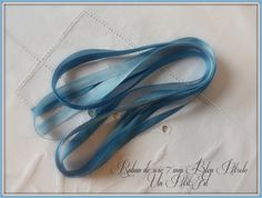 Ruban de soie 7 mm bleu petrole