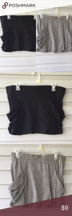"2 slouchy pocket mini skirts L/XL jr. Jersey fabric size Jr. L/XL Black 34 x 15 grey 31 x 15.5"" elastic waist. B💥💥 PLEASE NOTE💥💥 🌹🌹 prices are fairly firm unless bundled🌹🌹 🌻🌻 Poshmark takes a minim $2.95 commission or 20%🌻🌻 🌷🌷15% off bundles of 3 or more🌷🌷 🌺🌺 most items are being sold on consignment from my friends🌺🌺 Miley Cyrus Skirts Mini"