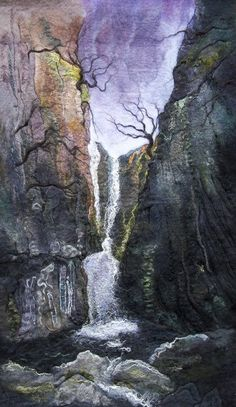 Catrigg Force Nuno Felting, Needle Felting, Landscape Art Quilts, Landscapes, Felt Wall Hanging, Felt Pictures, Textile Fiber Art, Wool Art, Thread Painting
