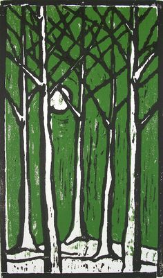 Trees with Moon woodblock print in moss green