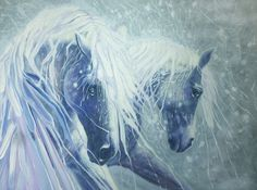Ice Horses - a sem abstract oil paintingThis is a large semi abstract oil painting of two white Andalusian horses being formed from ice. The faces and bodies are painted quite carefully and correctly whilst the manes and background are painted thickly and with lots of movement. Painted on deep edge canvas, silver and white background and edges