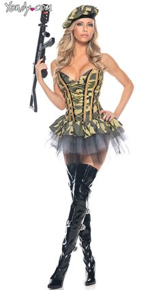 sexy commando cutie costume sexy military costume for women army costume for women - Halloween Army Costume
