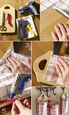Upcycle a dish cloth and a cutting board to make these cute little kitchen hangers!