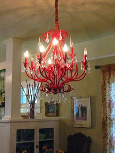 Lowe's chandelier spray painted red