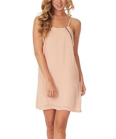 This Peach & Black Crisscross-Back Shift Dress by Pinkblush is perfect! #zulilyfinds