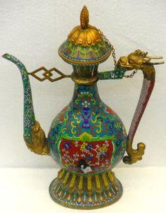 antique teapots | 478: Antique Chinese Cloisonne Teapot : Lot 478
