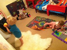 and then... it was a shared nursery/toddler room.. jacob got his big boy bed (cars)