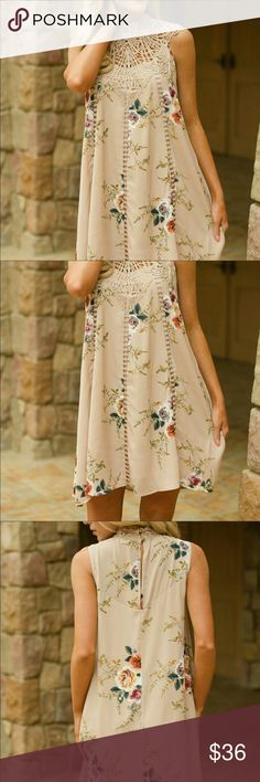 Tan Floral patterned dress Please see size chart Dresses