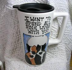 Taza de viaje amor gatos con azul hecho a mano por GoodNiteGracie