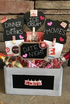 Date Night basket for our hockey association fundraiser! Date Night basket for our hockey association fundraiser! Gift Card Basket, Date Night Gifts, Valentine Gift Baskets, Gift Baskets For Him, Valentine's Day Gift Baskets, Themed Gift Baskets, Gift Baskets For Boyfriend, Gift Card Tree, Gift Card Bouquet