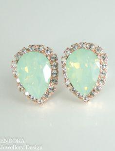 Mint green opal earrings #EndoraJewellery