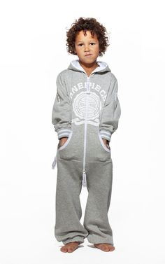 Keep your child cozy as can be in our range of childrens onesies and jumpsuits. With premium cotton and fleece, fun colors and prints, and special attention to detail, our jumpsuits are designed to give your little boy or girl ultimate comfort with attitu Jumpsuit For Kids, Little Boys, Boy Or Girl, Onesies, College, One Piece, Children, Grey, Cotton