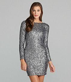 Aidan Aidan Mattox LongSleeve Metallic Sequin Dress #Dillards I love this dress to wear in NYC for my birthday!