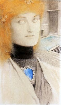 fernand khnopff,Who shall deliver me? (Chirtina Georgina Rosseti) 1891  crayons de couleurs