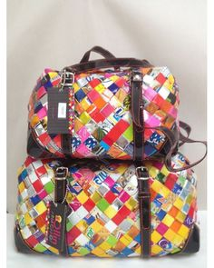 Nahui Ollin Bag handmade Made in mexico Candy paper magazine wrap recycle $120.00