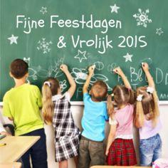 Op deze vrolijke en gezellige kerstkaart wensen de kinderen iedereen fijne feestdagen en een vrolijk 2015 toe! Zakelijke kerstkaart voor diverse scholen.