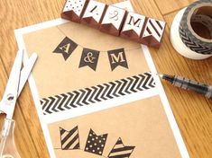 Initial bunting, Rubber stamps, Words frag stamps, DIY wedding, Invitations decor, Garland stamps set Japanese stationery Birthday stamp kit by JapaneseRubberStamps on Etsy