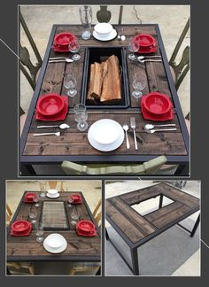 DIY fire pit table    Outdoor fire pit table made of wood and steel. Great for family BBQs, or to hang out by the fire. Ask how much...