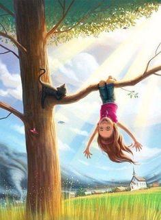 To enjoy life – the most corre Art And Illustration, Illustrations, Girly Drawings, Art Drawings For Kids, Poster Print, Digital Art Girl, Cute Cartoon Wallpapers, Belle Photo, Cartoon Art