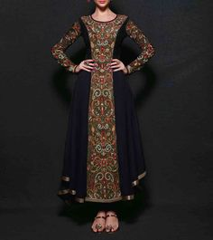 SAREE EXOTICA - Black Embroidered Georgette Semi Stitched Anarkali Suit Click on the photo to shop! :)