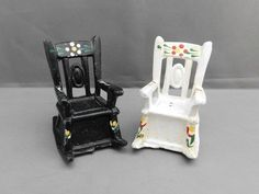 Cast Iron Rocking Chairs Salt & Pepper Shakers Vintage Black White Hand Painted