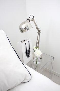bedroom    Kartell Jolly bedside table en rose ou mauve   IKEA Forså lamp