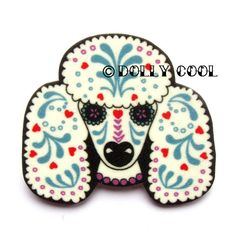Day of The Dead Sugar Skull Style Poodle Pin Brooch by DollyCool