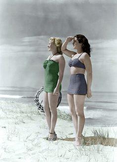 Bathing suits. Love them! beach summer fashion vintage green blue bikini 40s colorized photo print ad found models shoes platform