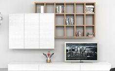 TV Wände Wohnzimmermöbel TV Wohnwand kompakt Bücherregal