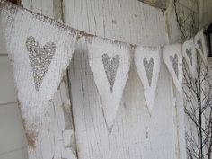 Tarnished Silver Hearts Painted Burlap Banner. $32.00, via Etsy.