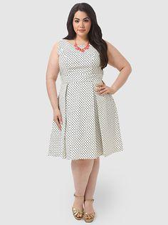 The Girl Next Door Dress In White & Black Dots
