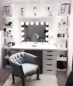 Large DIY Makeup Room Ideas, Organizer, Storage and Decoration ( Room Idea) - Makeup Room Ideas - - Dekoration Ideen - Beauty Room Room Ideas Bedroom, Bedroom Furniture, Room Decor Diy For Teens, Bedroom Bed, Furniture Design, Furniture Chairs, Grey Bed Room Ideas, Furniture Plans, Kids Furniture