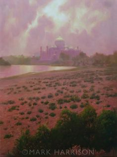 """""""The Gilded Prison"""" which refers to the view of the Taj Mahal from Agra Fort  where Shah Jahan was imprisoned by his son Aurangzeb. Oil on linen 18"""" x 24"""""""